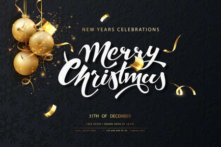Christmas festive dark card. Dark christmas background with golden balls, garlands, sparkles and new year lights. Vectores