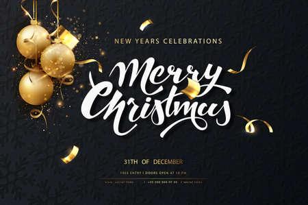 Christmas festive dark card. Dark christmas background with golden balls, garlands, sparkles and new year lights. Illustration