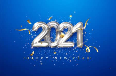 2021 silver metal numerals on a blue background. Holiday illustration with date 2021.