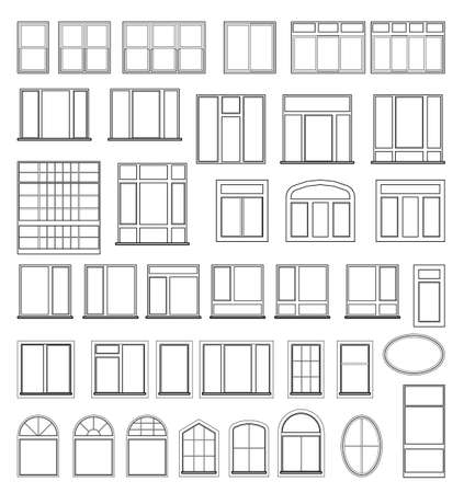 Set of window elements for the design of architectural and construction drawings. Illustration in black color isolated on white background. Vectores