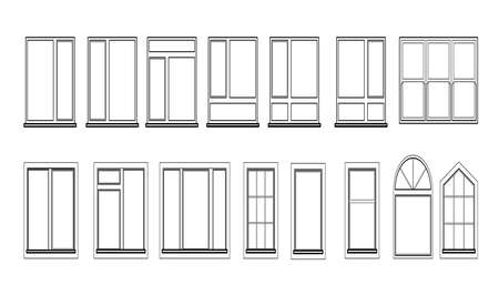 Windows set isolated on white background. Closed vector window element of architecture and interior design. Illustration in black color isolated on white background.