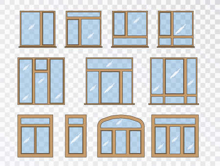 Window set of different types. Collection classic architecture elements.Closed vector window element of architecture and interior design Vectores
