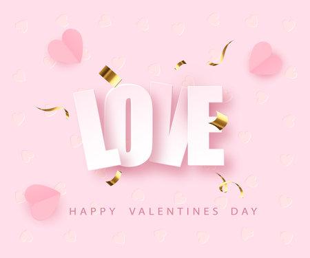 love greeting card design fo Valentine s day. Happy Valentines Day. Vector illustration Illustration