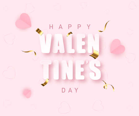Valentines day greeting banner in papercut realistic style