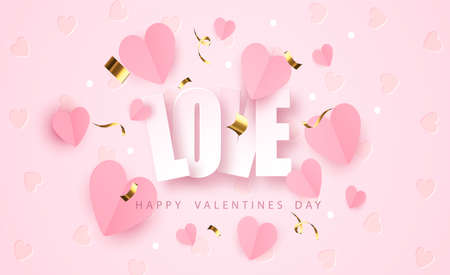 Word love with paper realistic hearts. Romantic valentines day banner Illustration