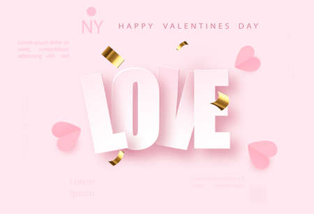 Love pink vector background with golden confetti. Valentines day celebrate design. Festive premium concept template for holiday