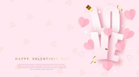Valentines day banner with realistic romantic elements. Vector.