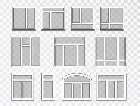 Windows Set Vector. Set of glass windows for house, facade, decor.Interior. Plastic windows design collection of different types.