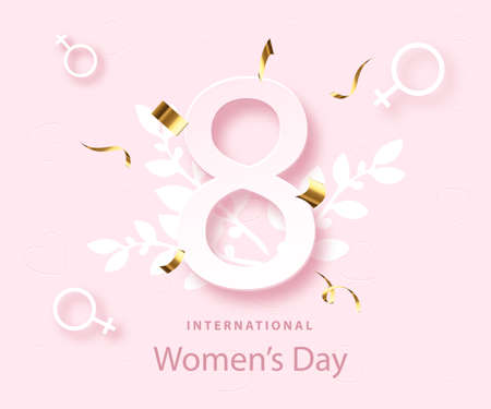 Happy womens day poster. 8 march holiday. Spring design. Greeting card. Illustration