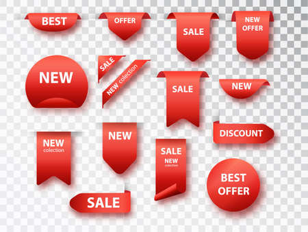 Label tags vector collection. Sale banners isolated. New collection tags set. Vectores