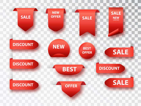 Ribbon sale banners, price tags, new offers collection. Label tags vector collection