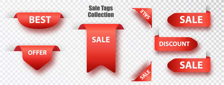 Red ribbon of price tag