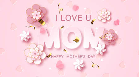 Mothers day greeting card with beautiful blossom flowers background. Best mom ever cute feminine design for menu, flyer, card, invitation.