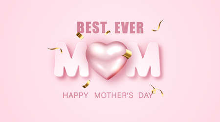 Happy Mothers day banner design with 3d metallic heart and tinsel on pink background. Vector illustration