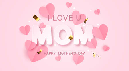 I love mom. Mothers day greeting card for celebration background with flowers. Vector illustration Illustration