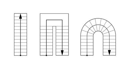 Drawing stairs, stairway top view. Architectural set.