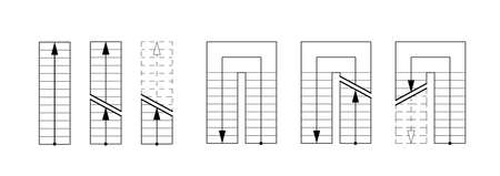 Drawing stairs. Architectural set for the design of drawings and sketches. Illustration