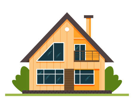 Vector House. Houses exterior vector illustration front view with roof