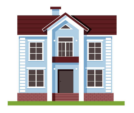 House facade . Blue Flat Residential Hous. Houses exterior vector illustration front view with roof. Private house. Architecture