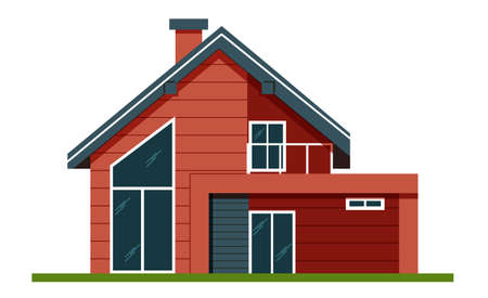 House facade . Colorful Flat Residential Hous. Private house. Architecture. Exterior. House. Advertise property