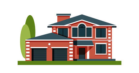 House facade with garage. Residential low-rise building. Country apartments. Element decoration for street and residential buildings. Illustration