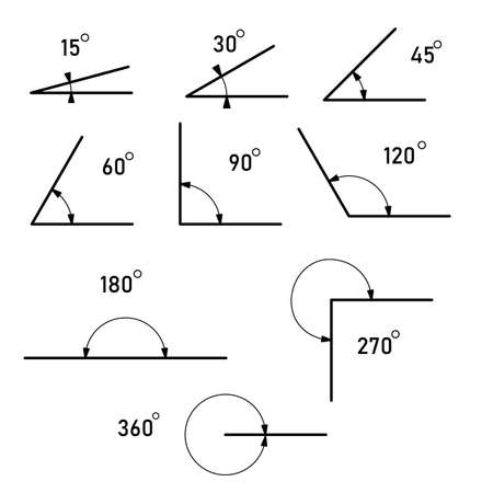 Angle different degrees. The symbol of geometry, mathematics. Set of vector icons consisting of angles of different degrees. Vector illustration