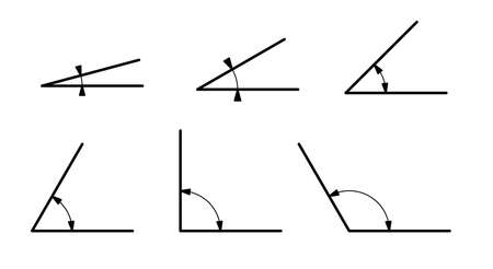 Different mathematical angles isolated on white background. Line drawing.