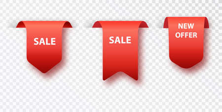 Red bookmark tag sale isolated on transparent background. Vector badges and labels isolated