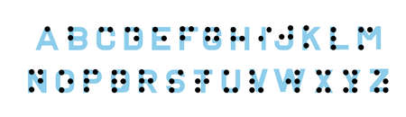 Braille alphabet for the blind. English version of Braille alphabet.