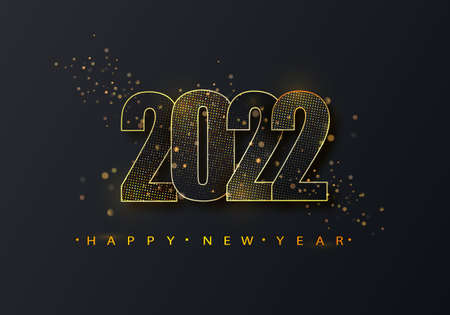 Happy new year 2022 golden halftone shining numbers on a black background. Party poster, banner or invitation gold glittering glitter decoration.