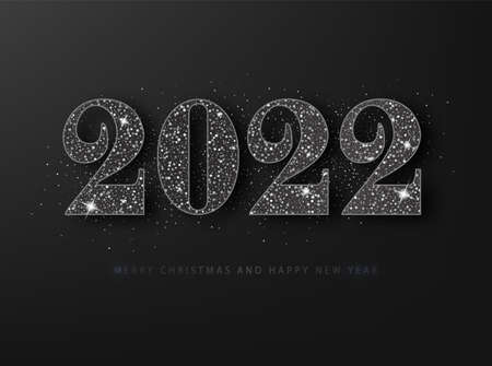 2022 Happy New Year grating card. Black glitter on a black background
