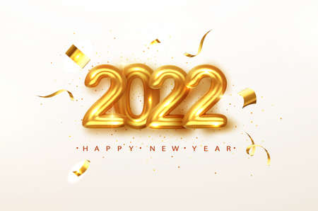2022 Happy new year. Gold design metallic numbers date 2022 of greeting card. Happy New Year Banner with 2022 numbers on Bright Background. Vector illustration. Illustration