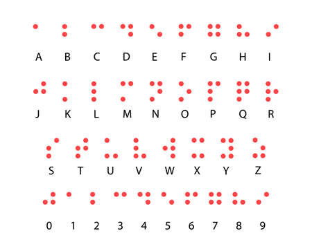 Braille alphabet code system with numbers, Braille alphabet for the blind in Latin Illustration