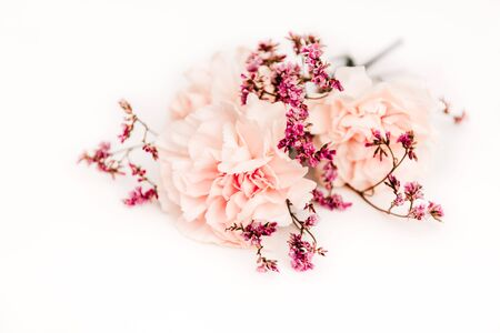 modest bouquet of flowers on the white background, symbol of love, pink or beije carnations and small decoration branch