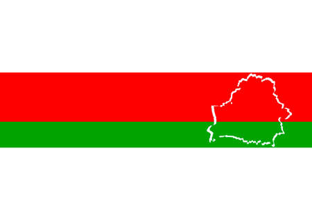 The Belarusian flag with outline map country borders. It is white red green white. A symbol of peaceful protest of Belarusians. Background. Foto de archivo