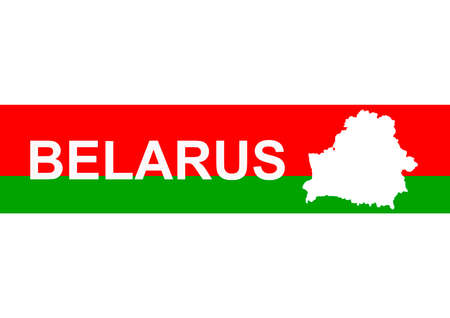 The word Belarus on the Belarusian flag with outline map country borders. It is white red green white. A symbol of peaceful protest of Belarusians. Background.