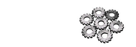 Banner with several metal milling disc cutters for industrial equipment. The tool is isolated on a white background with free copy spase. Close-up.
