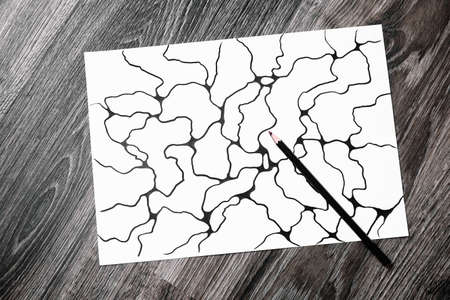 Abstract imaginary picture of curves by black pencil. A psychological art therapy tests. Identification of the unconscious, subconscious, the depths of the human brain. Art therapy treatment. Result.