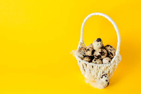 White basket full of quail eggs and feather on bright yellow paper background. Easter holiday. Greeting card. Religious mockup design. Healthy food. Farm product. Stockfoto