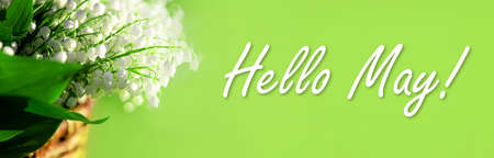 Banner with a beautiful bouquet of lilies of the valley in wicker basket. The text hello May. Green background with copy space. Springtime. Business greeting card. Spring holidays. Shop billboard.
