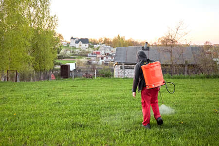 Farmers spraying pesticide on lawn field wearing protective clothing. Insecticide sprayer with a proper protection. Treatment of grass from weeds and dandelion. Copy space. Gardening care season. Man.