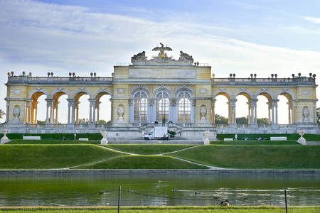 Vienna, Austria - September 25, 2013: Schonbrunn Palace and gardens. The former imperial summer residence. The palace is one of the most important architectural, cultural, and historical monuments in the country. Editorial