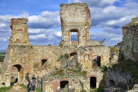 Boskovice, Czech Republic - September 28, 2013: Ruin of a 13th-century Gothic castle Boskovice hrad in southern Moravia, Czech Republic.