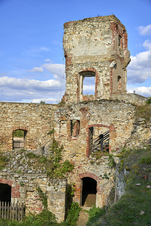 Boskovice, Czech Republic - September 28, 2013: Ruin of a 13th-century Gothic castle Boskovice hrad in southern Moravia, Czech Republic.