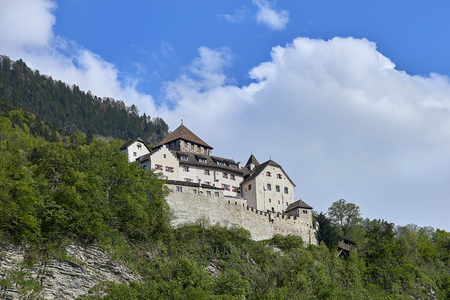 Vaduz, Liechtenstein - April 28, 2016: The Vaduz Castle in Liechtenstein. Principality of Liechtenstein is one of the worlds smallest countries. It is located between Switzerland and Austria. its capital is Vaduz.