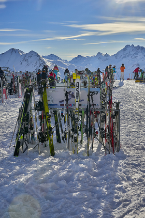 Ischgl, Austria - December 31, 2017: Ski equipment placed on the snow