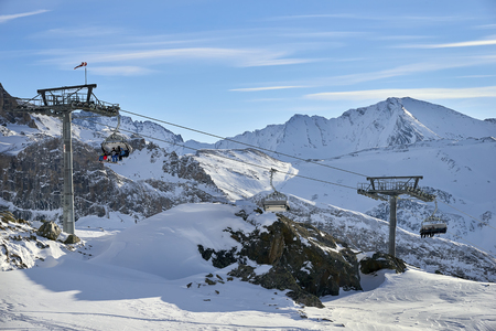 Ischgl, Austria - December 31, 2017: Winter resort and ski slopes between mountains on the background Editorial