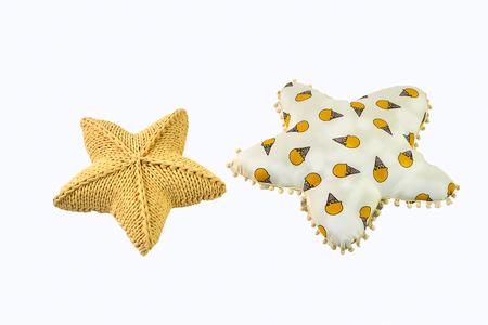 Yellow Knitted Five Pointed Star Shaped Pillow And Heart Shaped