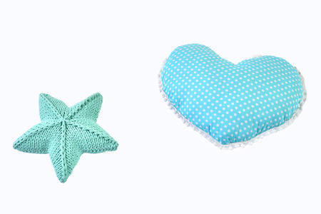 Blue Green Knitted Five Pointed Star Shaped Pillow And Dotted
