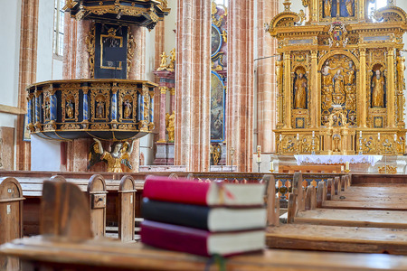 Holy bible on a wooden church, selective focus